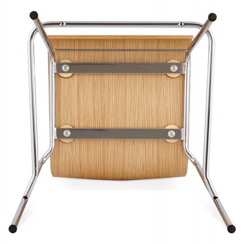 Tabouret de bar design SAONE en bois et métal chromé (naturel) - image 27519