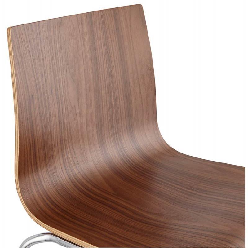Tabouret de bar design mi-hauteur SAONE MINI en bois et métal chromé (noyer) - image 27544