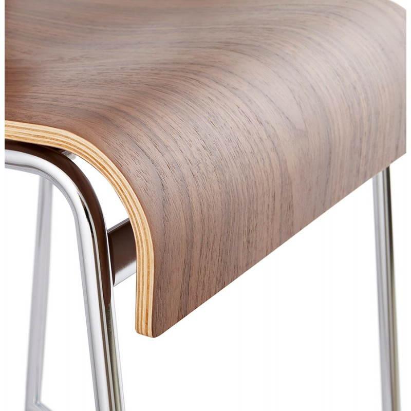 Tabouret de bar design mi-hauteur SAONE MINI en bois et métal chromé (noyer) - image 27545