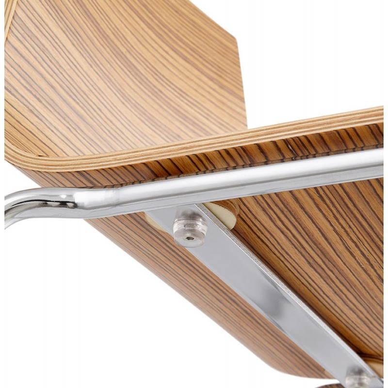 Tabouret de bar design mi-hauteur SAONE MINI en bois et métal chromé (zébrano) - image 27562