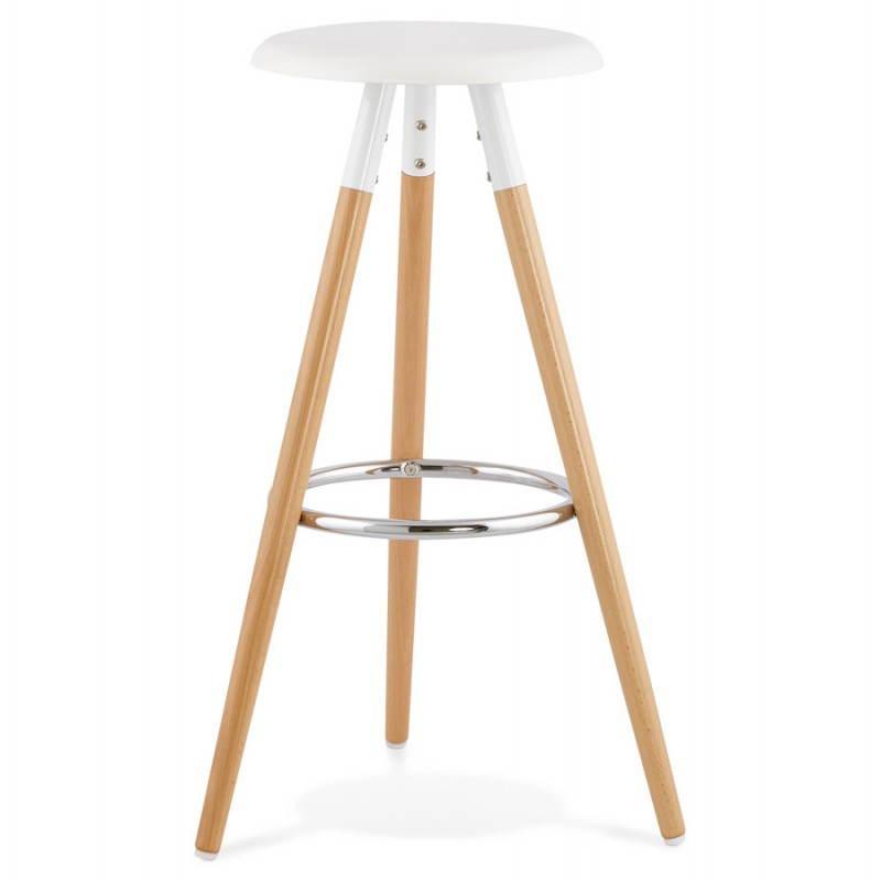 Tabouret bois de bar design scandinave 3 pieds PIERROT (blanc, naturel) - image 27569