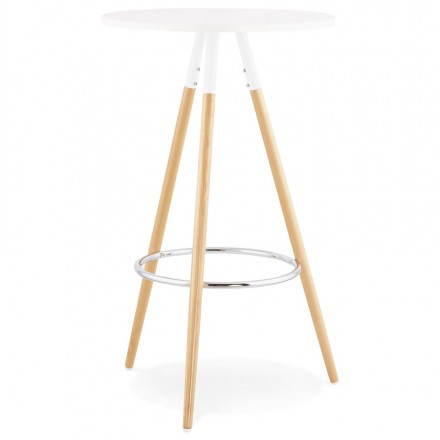 Table haute ronde scandinave JULIE en bois (Ø 65 cm) (blanc, naturel)