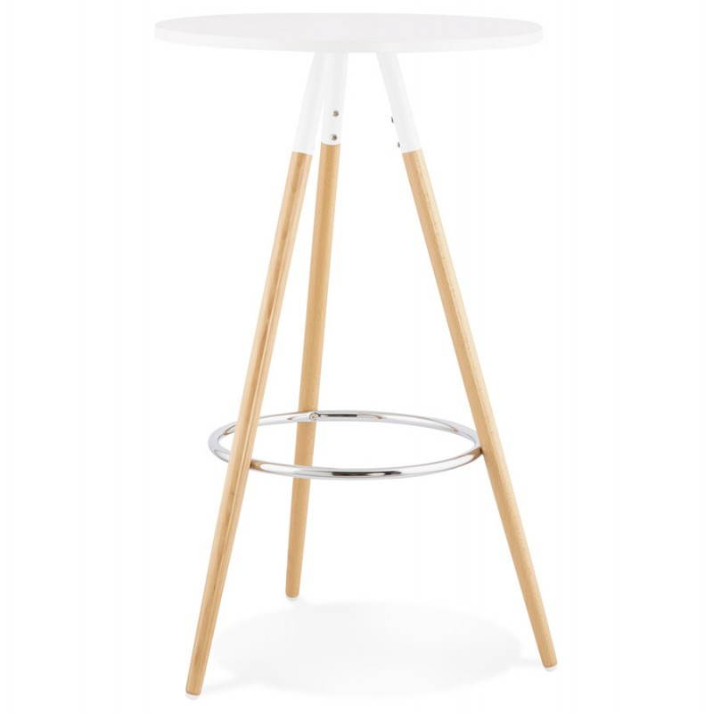 Table haute ronde scandinave JULIE en bois (Ø 65 cm) (blanc, naturel) - image 27610