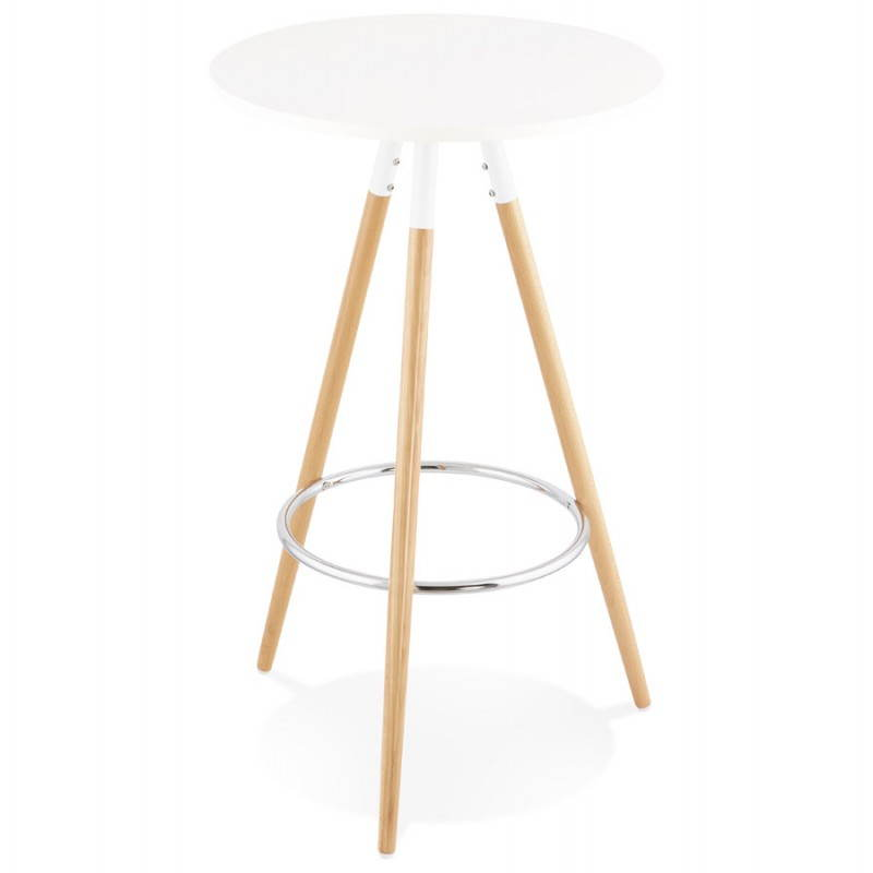 Table haute ronde scandinave JULIE en bois (Ø 65 cm) (blanc, naturel) - image 27613