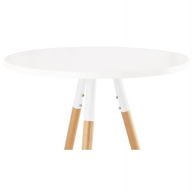 Table haute ronde scandinave JULIE en bois (Ø 65 cm) (blanc, naturel) - image 27614