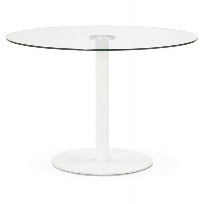 Table Manger Ronde Design Elsa En Verre Et M Tal 110 Cm Transparent
