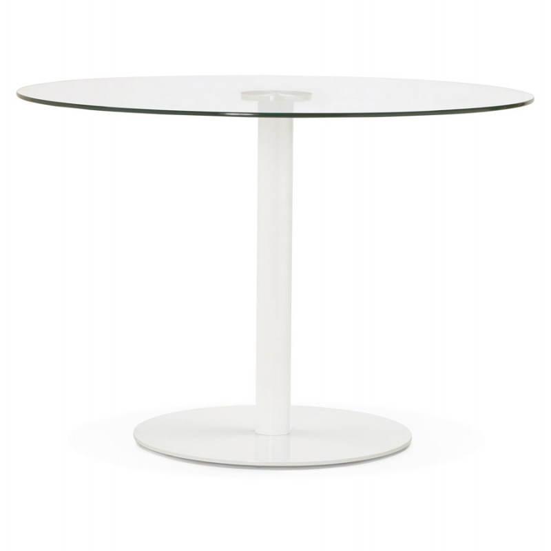 table manger ronde design elsa en verre et m tal 110 cm transparent. Black Bedroom Furniture Sets. Home Design Ideas