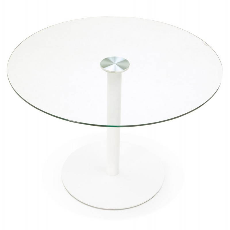 Round Dining Table Design Elsa In Glass And Metal O 110 Cm