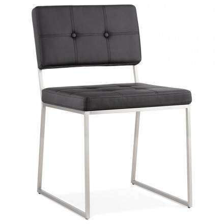 Upholstered and padded design chair BOUTON (black)
