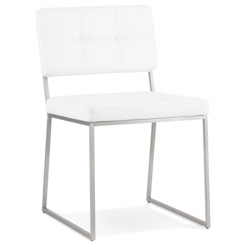 chaise design capitonn e et rembourr e bouton blanc. Black Bedroom Furniture Sets. Home Design Ideas