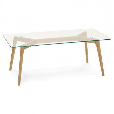 Rectangular coffee table style Scandinavian HENNA in glass and oak (transparent)