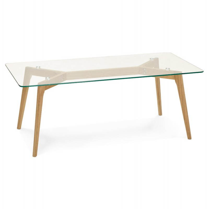 Rectangular coffee table style Scandinavian HENNA in glass and oak (transparent) - image 27871