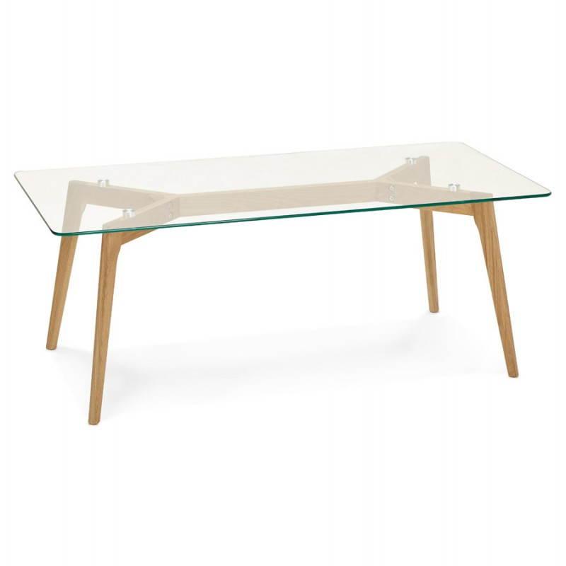 Table Basse Rectangulaire Style Scandinave Henna En Verre Et Chene
