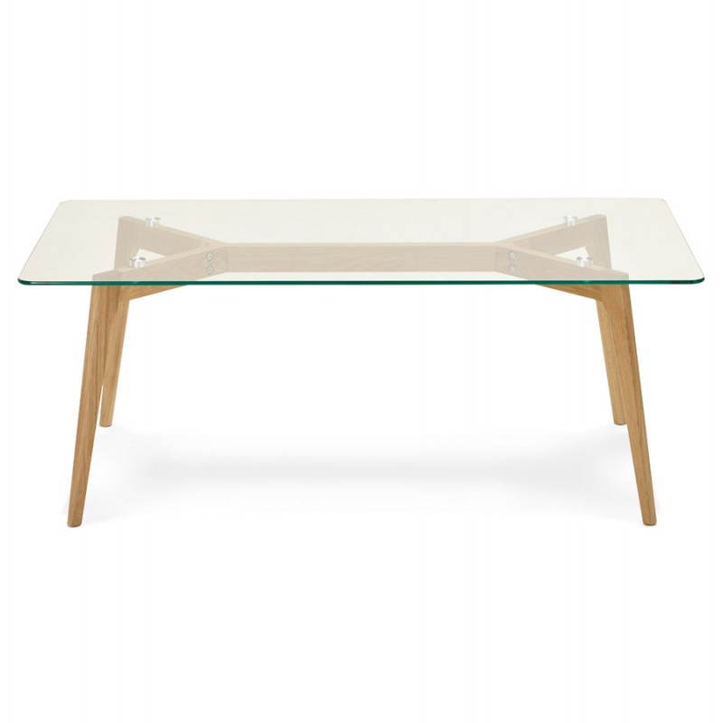 Table basse rectangulaire style scandinave henna en verre et ch ne transparent - Table en verre rectangulaire ...