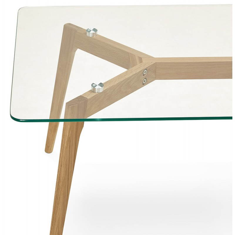 Table basse rectangulaire style scandinave HENNA en verre et chêne (transparent) - image 27875