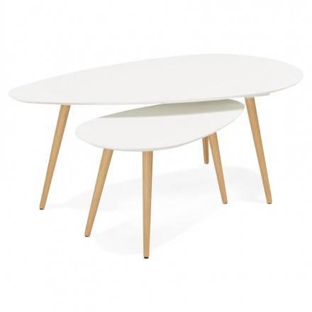 Tavolini design ovale GOLDA nidificazione in legno e rovere (bianco)