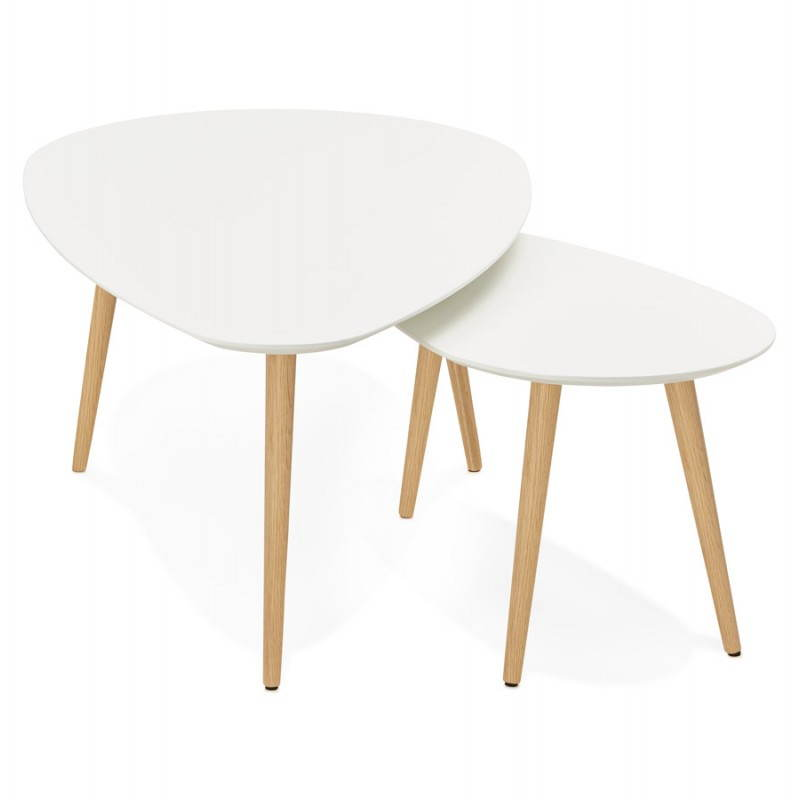 tables basses design ovales gigognes golda en bois et ch ne massif blanc. Black Bedroom Furniture Sets. Home Design Ideas