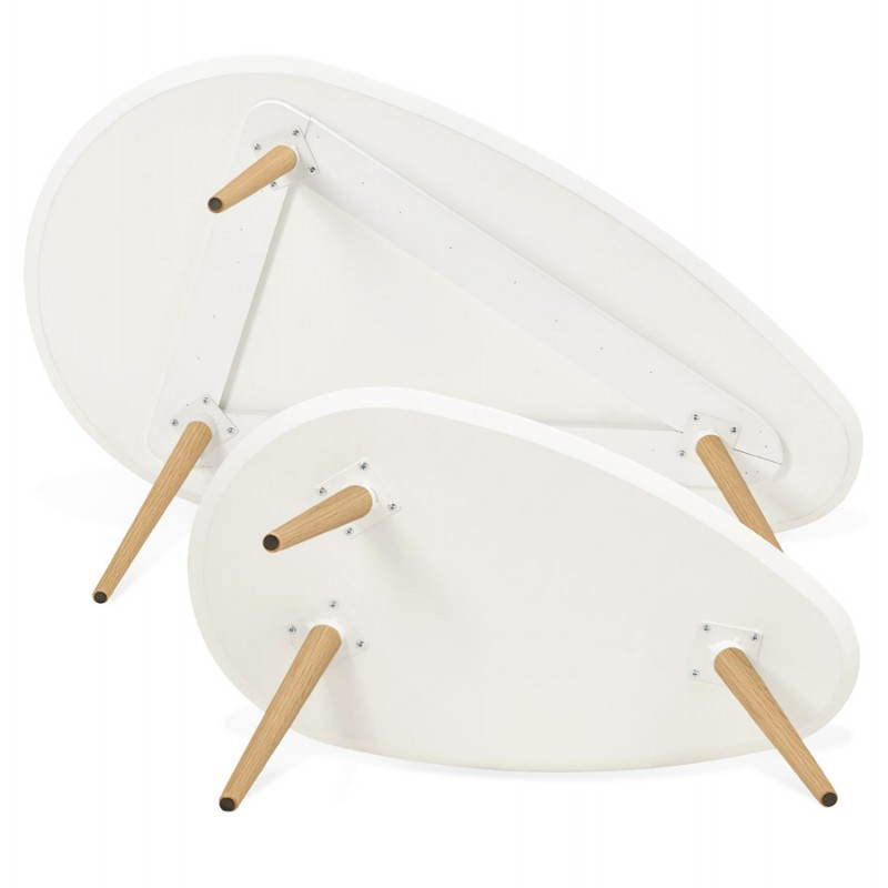 Tables basses design ovales gigognes GOLDA en bois et chêne massif (blanc) - image 27904