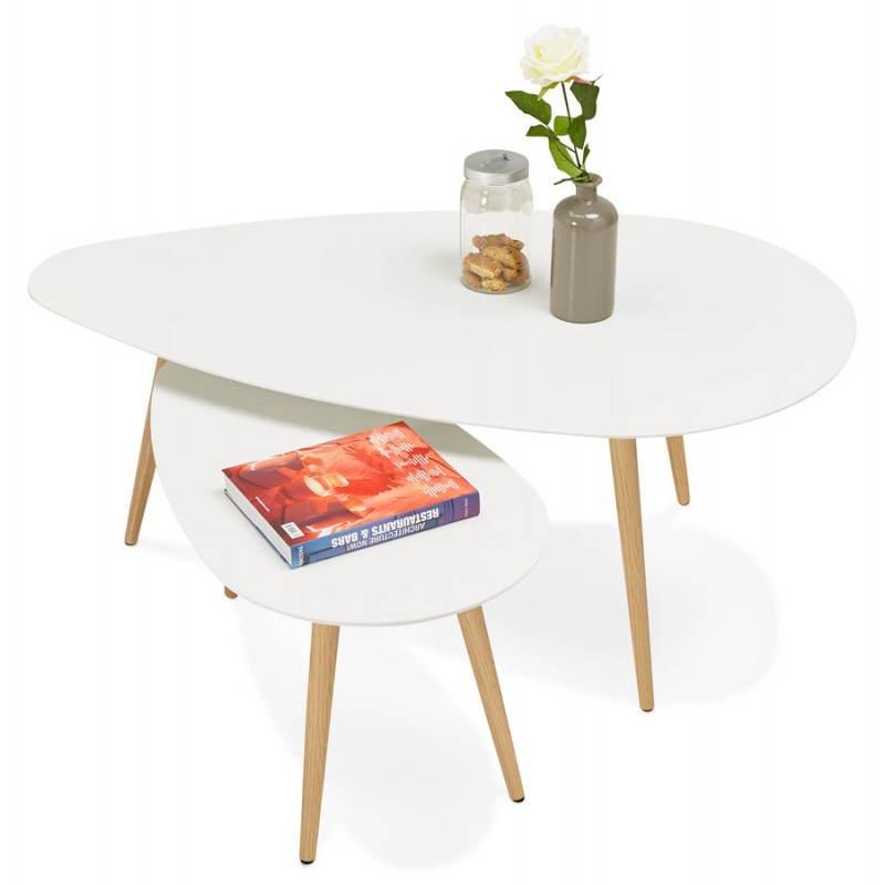 Tables basses design ovales gigognes GOLDA en bois et chêne massif (blanc) - image 27907