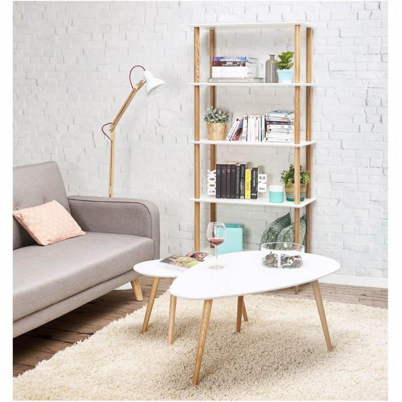 Tables basses design ovales gigognes GOLDA en bois et chêne massif (blanc) - image 27909