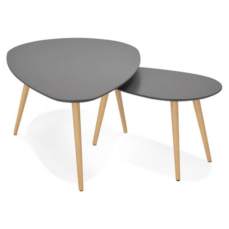 Tables basses design ovales gigognes GOLDA en bois et chêne massif (gris foncé) - image 27912