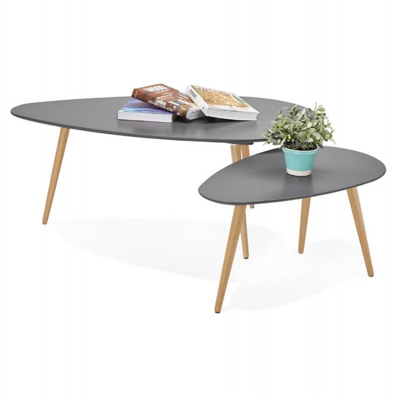 Tables basses design ovales gigognes GOLDA en bois et chêne massif (gris foncé) - image 27921