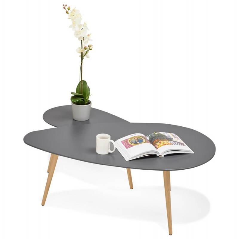 Tables basses design ovales gigognes GOLDA en bois et chêne massif (gris foncé) - image 27922