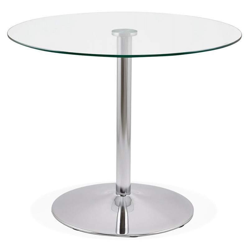table de repas ronde design olav en verre et m tal chrom 90 cm transparent. Black Bedroom Furniture Sets. Home Design Ideas
