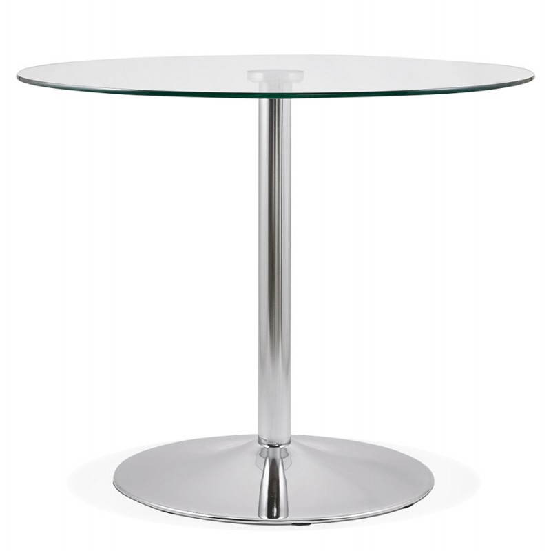 Table de repas ronde design olav en verre et m tal chrom 90 cm transparent - Table ronde en verre design ...