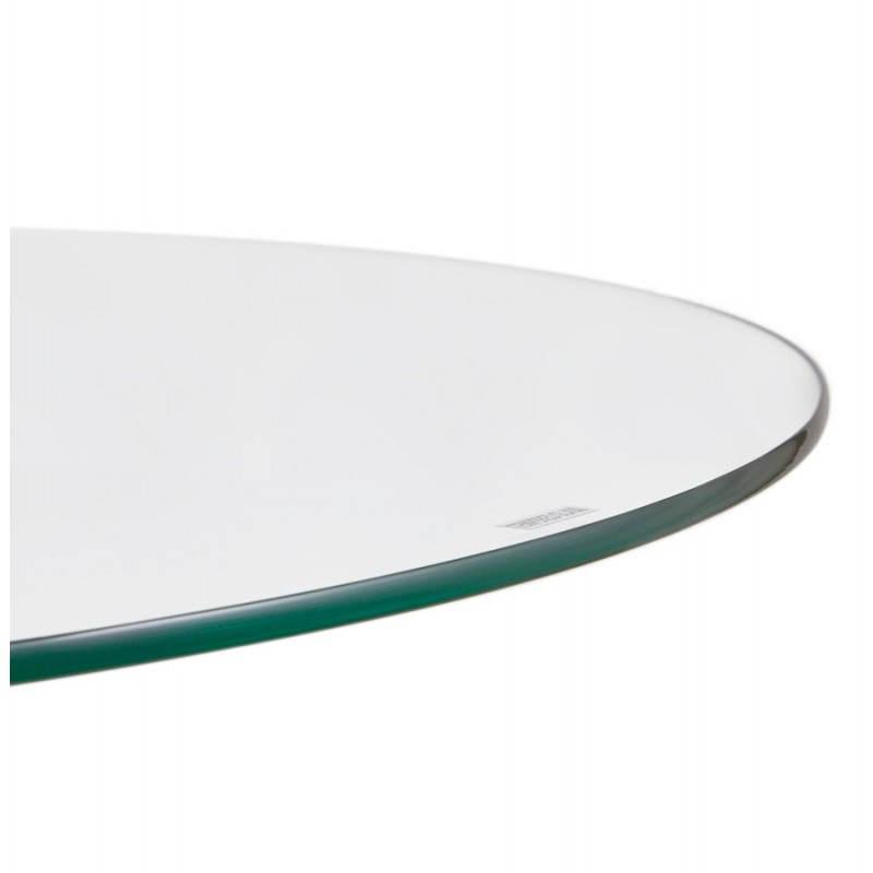 Diseño redondo OLAV comedor en vidrio y cromado (Ø 90 cm) tabla del metal (transparente) - image 27940