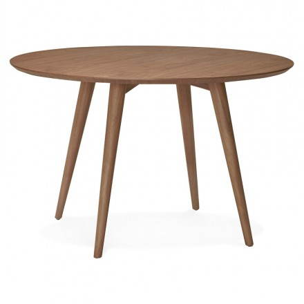 Round dining table vintage style Scandinavian SOFIA (Ø 120 cm) wood (Walnut)