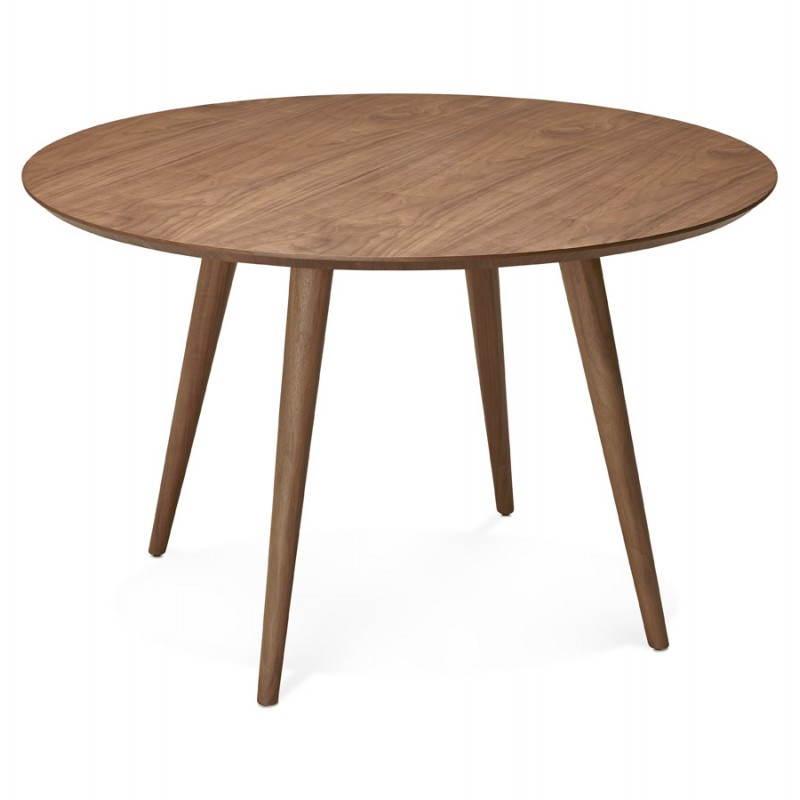 Table de repas ronde vintage style scandinave SOFIA en bois (Ø 120 cm) (finition noyer) - image 27950