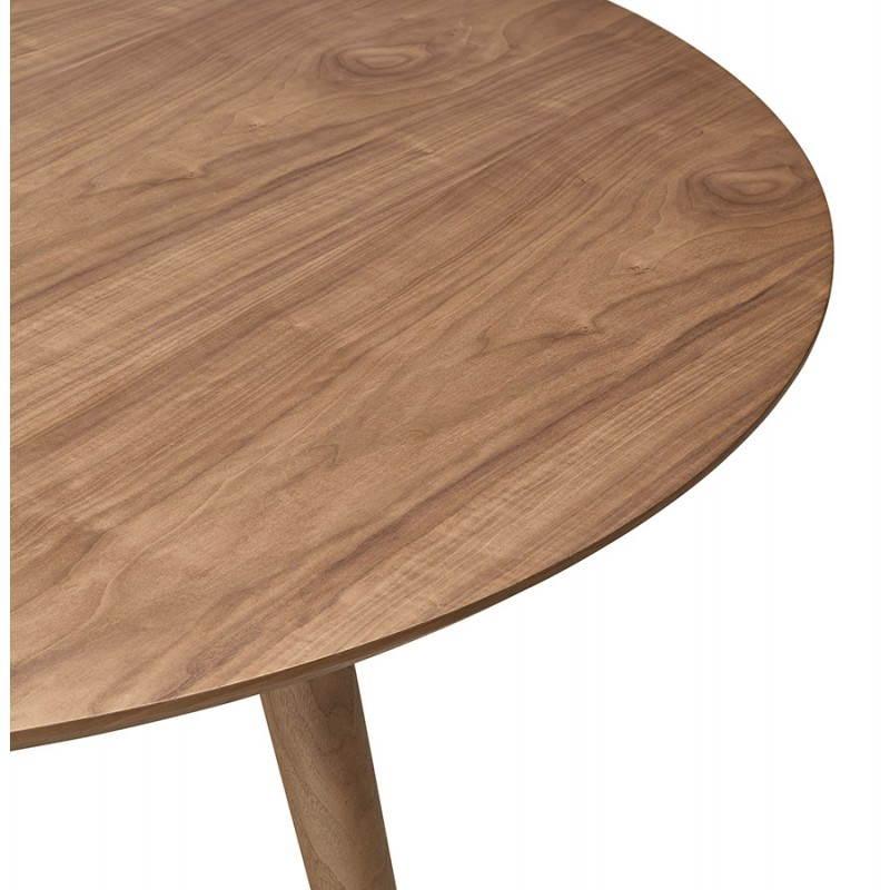 Table de repas ronde vintage style scandinave SOFIA en bois (Ø 120 cm) (finition noyer) - image 27951
