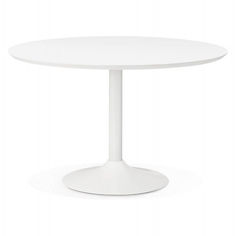 Dining table round design Scandinavian STRIPE in wood and painted metal (Ø 120 cm) (white)