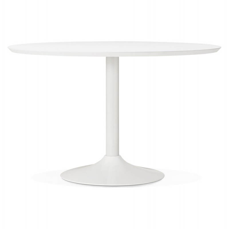 Dining table round design Scandinavian STRIPE in wood and painted metal (Ø 120 cm) (white) - image 27974