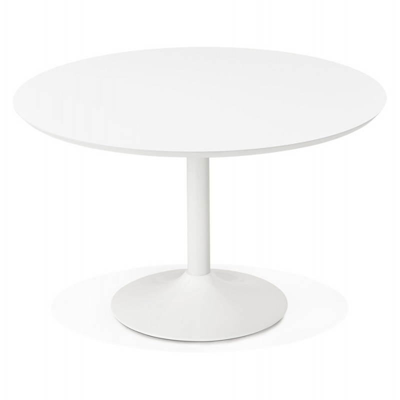 Dining table round design Scandinavian STRIPE in wood and painted metal (Ø 120 cm) (white) - image 27975
