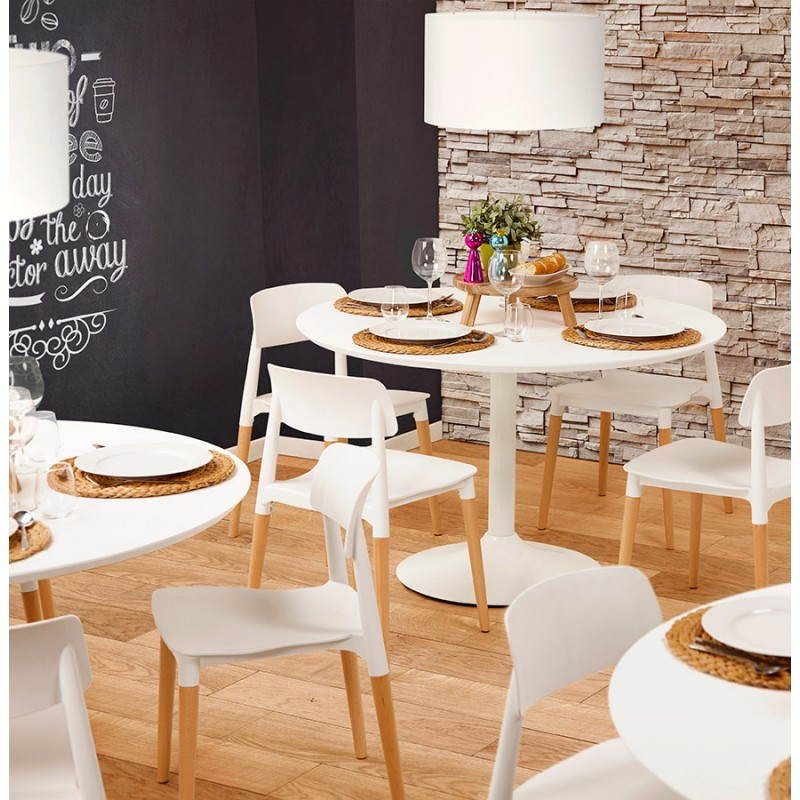 table de repas ronde design scandinave galon en bois et m tal peint 120 cm blanc. Black Bedroom Furniture Sets. Home Design Ideas