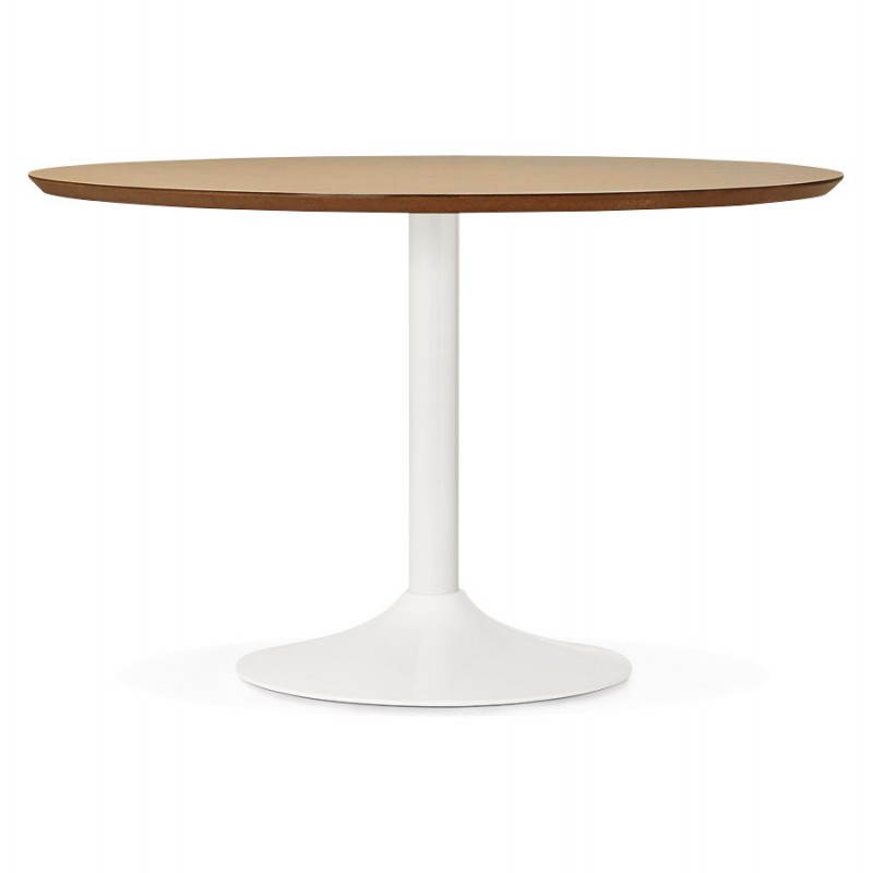 Dining table round design Scandinavian STRIPE in wood and painted metal (Ø 120 cm) (natural, white) - image 27985
