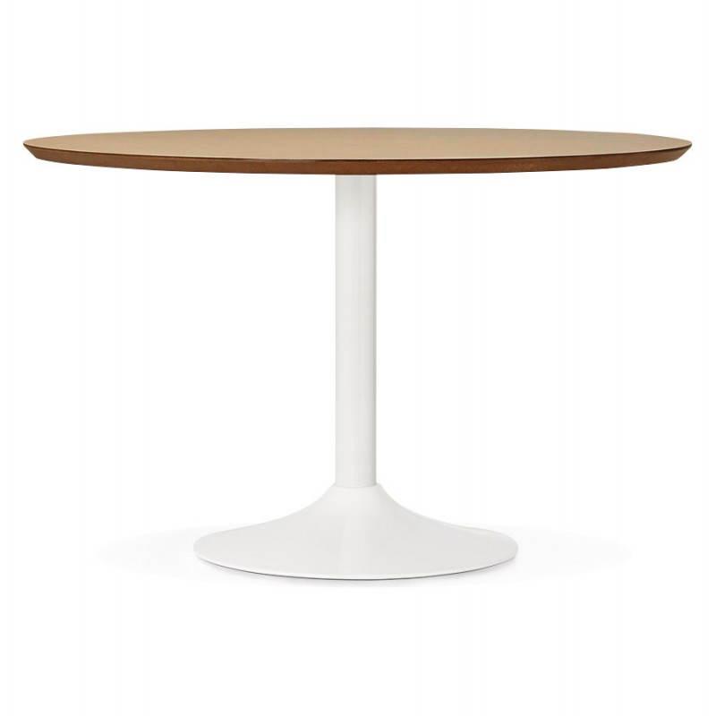Table de repas ronde design scandinave GALON en bois et métal peint (Ø 120 cm) (naturel, blanc) - image 27985