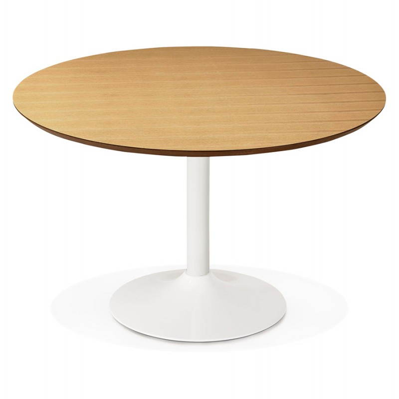 Table de repas ronde design scandinave galon en bois et for Table repas ronde
