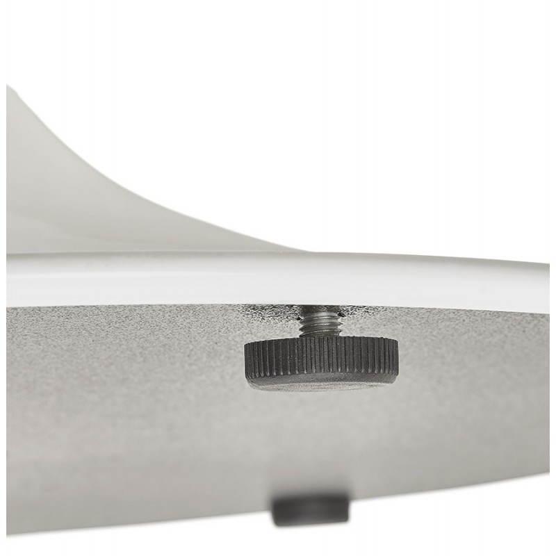 Table de repas ronde design scandinave GALON en bois et métal peint (Ø 120 cm) (naturel, blanc) - image 27992