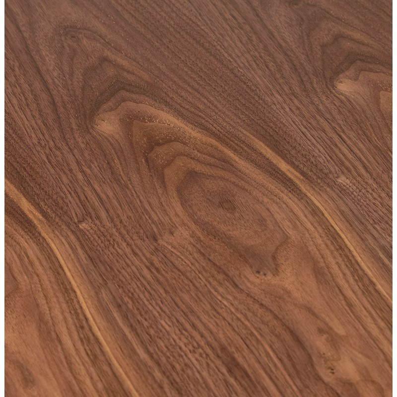 Tavolo da pranzo tondo scandinavo vintage STRIPE in metallo verniciato e legno (Ø 120 cm) (noce nero) - image 27997