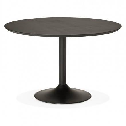 Table de repas ronde design GALON en bois et métal peint (Ø 120 cm) (noir)