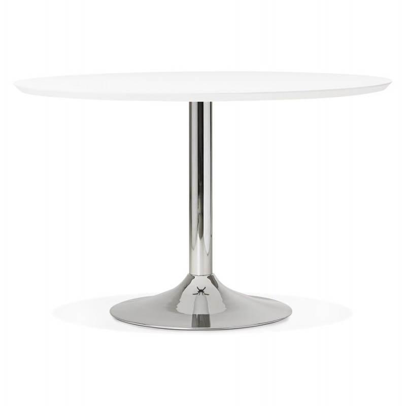 Table de repas design ronde GALON en bois et métal chromé (Ø 120 cm) (blanc, métal chromé) - image 28016