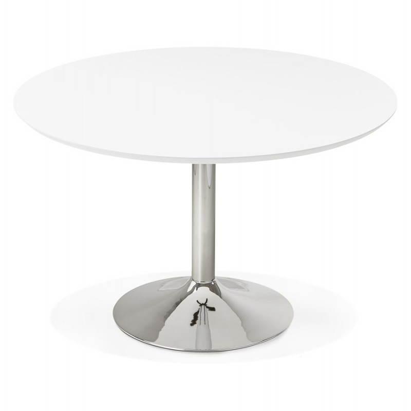 Table de repas design ronde GALON en bois et métal chromé (Ø 120 cm) (blanc, métal chromé) - image 28017