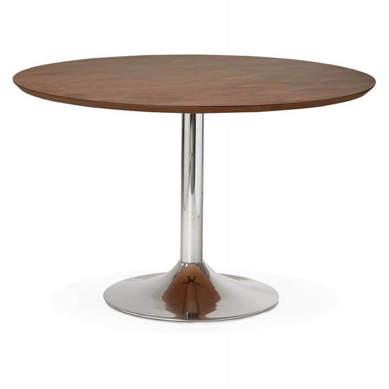 Tisch Design Runden GEFLECHT Aus Holz Und Chrom Metall (Ø 120 Cm) (Walnuss,  Verchromtem Metall)