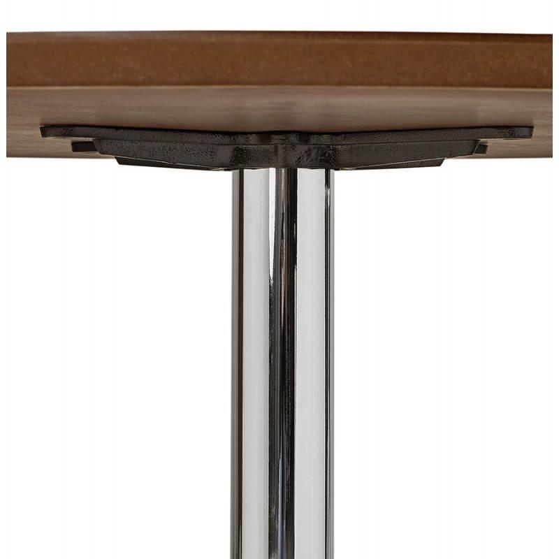 Table de repas design ronde GALON en bois et métal chromé (Ø 120 cm) (noyer, métal chromé) - image 28031