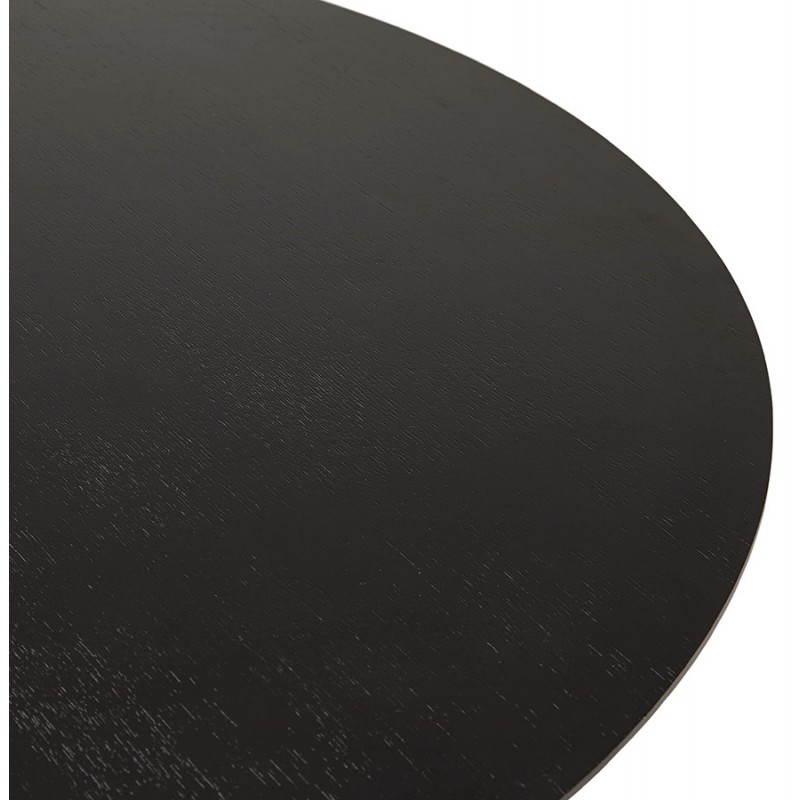 Table de repas design ronde GALON en bois et métal chromé (Ø 120 cm) (noir, métal chromé) - image 28158