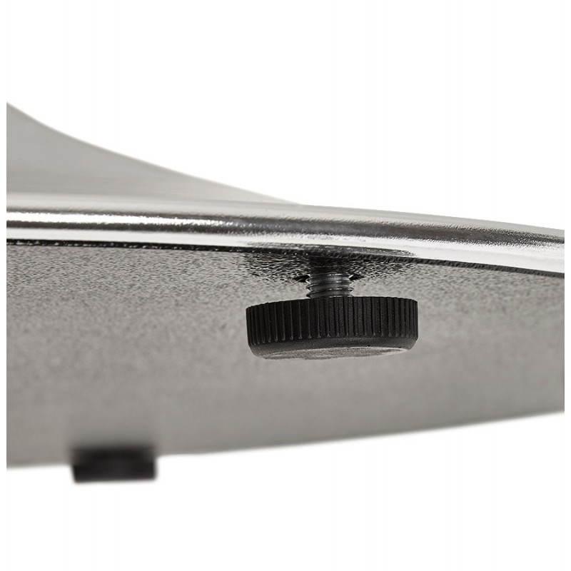 Table de repas design ronde GALON en bois et métal chromé (Ø 120 cm) (noir, métal chromé) - image 28163