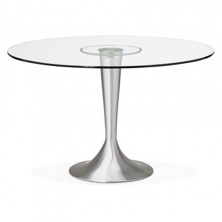 Table de repas design ronde URBAN en verre trempé et aluminium brossé (Ø 120 cm) (transparent)